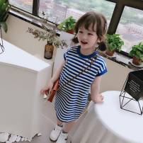 Dress Blue stripe female Other / other The recommended height is 90cm for size 7, 100cm for size 9, 110cm for size 11, 120cm for size 13 and 130cm for size 15 Other 100% summer Korean version Short sleeve Solid color other other Class B