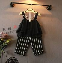suit Other / other Set as shown in the picture The recommended height is 90cm for size 7, 100cm for size 9, 110cm for size 11, 120cm for size 13 and 130cm for size 15 female summer Korean version Sleeveless + pants 2 pieces Thin money No model Socket nothing stripe other children Learning reward