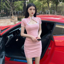 Dress Summer 2020 Pink, blue S,M,L Short skirt singleton  Short sleeve commute stand collar High waist Solid color A button One pace skirt routine Others 18-24 years old Type X Other / other Retro Cut out, button 31% (inclusive) - 50% (inclusive) brocade cotton