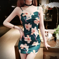 Dress Spring of 2019 green S,M,L Short skirt singleton  Sleeveless commute V-neck High waist Decor Pencil skirt camisole 18-24 years old Type X Other / other Retro printing 30% and below other cotton