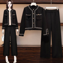 Middle aged and old women's wear Autumn 2020 6056 black two piece set, 6079 black two piece set L (recommended 90-115 kg), XL (recommended 115-135 kg), 2XL (recommended 135-155 kg), 3XL (recommended 155-175 kg), 4XL (recommended 175-200 kg) commute suit easy Two piece set Solid color Cardigan routine
