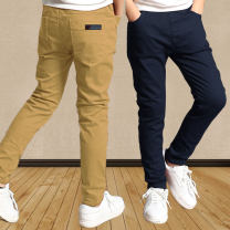 trousers male 110cm,120cm,130cm,140cm,150cm,160cm spring and autumn trousers leisure time There are models in the real shooting Casual pants Leather belt middle-waisted Pure cotton (100% content) Don't open the crotch Cotton 98% polyurethane elastic fiber (spandex) 2% Class B