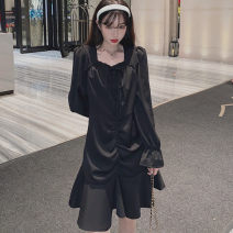 Dress Autumn 2020 black Mid length dress singleton  Long sleeves commute square neck middle-waisted Solid color Socket Ruffle Skirt puff sleeve Others 25-29 years old Type A Retro Ruffles, ruffles 71% (inclusive) - 80% (inclusive) other
