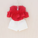 T-shirt Red chiffon You baobao 100cm,110cm,120cm,130cm,140cm,150cm,160cm,170cm female summer To be deleted Crew neck Korean version No model nothing Chiffon Solid color Other 100% Class A Quick drying