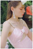 Dress / evening wear Wedding, adulthood, party, company annual meeting, performance, routine, appointment S. M, l, customized, do not support return Peach powder fashion Short skirt middle-waisted Summer 2020 Self cultivation Sling type zipper Pearl Sequin 18-25 years old T-DY0566 Sleeveless