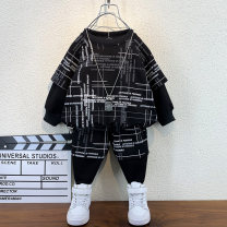 suit Ximeibeibei Black, gray male spring and autumn leisure time Long sleeve + pants 2 pieces routine No model Socket nothing other cotton children Expression of love Class B Two, three, four, five, six, seven, eight, nine