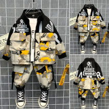 suit Ximeibeibei Grey, yellow, black, green, grey, yellow, yellow sleeves, green sleeves 90cm,100cm,110cm,120cm,130cm,140cm,150cm male spring and autumn leisure time Long sleeve + pants 2 pieces routine No model Zipper shirt nothing other cotton children Expression of love Class B