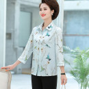 Middle aged and old women's wear Summer 2019, spring 2020, summer 2020 Light blue, light beige fashion shirt easy singleton  Flower and bird pattern 40-49 years old Cardigan thin square neck routine routine 21B1707 Button Others, silk 91% (inclusive) - 95% (inclusive) Single breasted Long sleeves