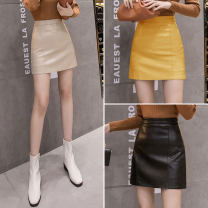 skirt Autumn 2020 S,M,L,XL Black, khaki, blue, yellow Short skirt commute High waist A-line skirt Solid color Type A 18-24 years old 71% (inclusive) - 80% (inclusive) other PU