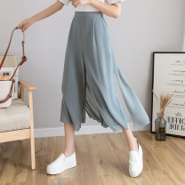 Casual pants White, black, grey blue S,M,L,XL Summer 2021 Ninth pants Wide leg pants High waist commute Thin money 18-24 years old 96% and above H other Korean version Gauze