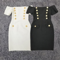 Dress Spring 2021 Black, white XS,S,M,L Middle-skirt singleton  Short sleeve commute One word collar High waist Solid color zipper One pace skirt routine Others 25-29 years old Type H lady zipper knitting polyester fiber