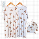 Nightdress Other / other Milky white, light blue Average size Simplicity Short sleeve Leisure home Middle-skirt summer Cartoon animation youth Crew neck other printing More than 95% Modal fabric