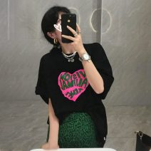 T-shirt White T-shirt, black T-shirt, green leopard skirt s, green leopard Skirt M Average size Summer 2021 Short sleeve Crew neck easy Medium length cotton 96% and above 2797#