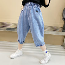 trousers Other / other neutral blue summer Cropped Trousers leisure time There are models in the real shooting Jeans Leather belt middle-waisted cotton Don't open the crotch Chinese Mainland