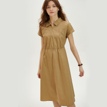 Dress Summer 2020 khaki Average size Mid length dress singleton  Short sleeve commute square neck High waist Solid color Socket A-line skirt routine Others 25-29 years old Type A Knit time Simplicity KTF20X614 More than 95% brocade cotton
