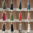 Dress Summer of 2019 Average size Mid length dress singleton  Sleeveless commute Crew neck Loose waist Solid color A-line skirt Type A Made by Xiaoer literature Q003 More than 95% other