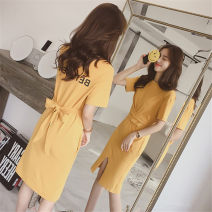 Dress Summer 2021 Black, yellow S,M,L,XL,2XL,3XL Mid length dress singleton  Short sleeve commute Crew neck middle-waisted letter Socket Princess Dress routine 18-24 years old Type A Korean version Epaulets, stitching, three-dimensional decoration, asymmetry, bandage, printing brocade cotton