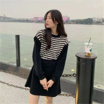 Dress Winter 2020 stripe Average size Short skirt Fake two pieces Long sleeves commute Crew neck High waist stripe Socket Irregular skirt routine Others 18-24 years old Type A Korean version Splicing 51% (inclusive) - 70% (inclusive)
