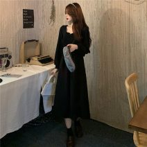 Dress Spring 2021 Black temperament Average size Mid length dress singleton  Long sleeves commute square neck High waist Solid color Socket A-line skirt routine Others 18-24 years old Type A Korean version fold 51% (inclusive) - 70% (inclusive)