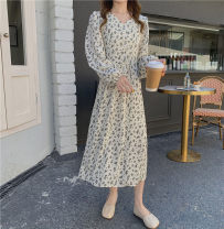 Dress Spring 2021 white Average size Mid length dress singleton  Long sleeves commute V-neck High waist Broken flowers Socket A-line skirt Others 18-24 years old Type A Korean version Button 51% (inclusive) - 70% (inclusive) Chiffon cotton