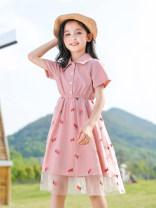 Dress Yellow, pink female Bad little treasure 120cm,130cm,140cm,150cm,160cm,170cm Other 100% summer princess Short sleeve stripe cotton A-line skirt Class B 7, 8, 14, 6, 13, 11, 5, 10, 4, 9, 12