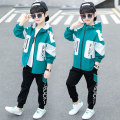 suit Bad little treasure White green, black yellow, black red, black green 110cm,120cm,130cm,140cm,150cm,160cm,170cm male spring and autumn leisure time Long sleeve + pants 2 pieces routine There are models in the real shooting Zipper shirt No detachable cap other other children Expression of love