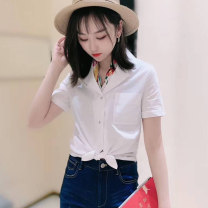 shirt white Two, three, four, five Spring 2021 cotton 51% (inclusive) - 70% (inclusive) Short sleeve Versatile V-neck Single row multi button routine Solid color Straight cylinder Brother amashi