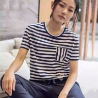 T-shirt Black and white stripes, blue and white stripes, red and white stripes Two, three, four, five, six Spring 2021 Short sleeve Crew neck easy routine commute other 71% (inclusive) - 85% (inclusive) Simplicity youth Brother amashi