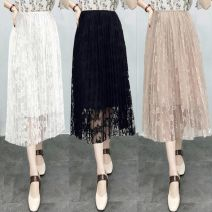 skirt Summer of 2018 S [premium], m [premium], l [premium], XL [premium] White, gray, black, apricot, emerald green, army green Versatile High waist Pleated skirt Broken flowers Type A 18-24 years old 89789x Lace Vinylon Lace