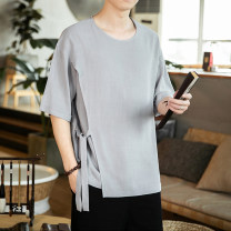 T-shirt other White, gray, red, black routine M,L,XL,2XL,3XL,4XL,5XL Others Short sleeve Crew neck easy Other leisure summer Large size routine Chinese style 2020 Solid color Cotton and hemp