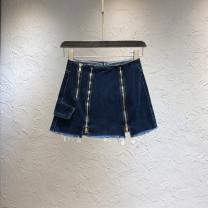 skirt Autumn 2020 S,M,L,XL Dark blue, pink Short skirt Versatile High waist A-line skirt Solid color Type A 18-24 years old 71% (inclusive) - 80% (inclusive) Denim cotton zipper