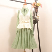 Dress Spring 2021 Flower 1 + green vest, flower 2 + beibai vest Average size Middle-skirt Two piece set Long sleeves commute stand collar High waist Decor Single breasted Pleated skirt routine Others 18-24 years old Type X Other / other Fold, print 91% (inclusive) - 95% (inclusive) Chiffon nylon