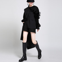 Dress Autumn 2020 White, black, green Average size longuette singleton  Long sleeves street Crew neck Loose waist Solid color Single breasted Irregular skirt Lotus leaf sleeve Others 25-29 years old Type H Splicing 51% (inclusive) - 70% (inclusive) other cotton Europe and America
