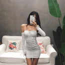 Dress Autumn of 2018 White, black, brown, army green S,M,L Short skirt singleton  Long sleeves street One word collar High waist Solid color Socket One pace skirt routine Breast wrapping 18-24 years old Other / other fold