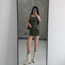 Dress Summer 2020 Black, army green S,M,L Short skirt singleton  18-24 years old