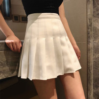 skirt Summer of 2018 XS,S,M,L Black with safety pants, white with safety pants, Leather Pink with safety pants, black [without] safety pants, white [without] safety pants, Leather Pink [without] safety pants Short skirt High waist Pleated skirt Solid color Type A 18-24 years old fold
