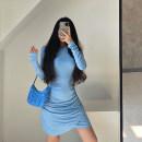 Dress Winter 2020 Blue, apricot, black S, M Short skirt singleton  Long sleeves Crew neck 18-24 years old
