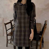 Dress Spring 2021 Picture color S,M,L Short skirt singleton  Long sleeves commute Doll Collar Loose waist lattice A button A-line skirt routine 18-24 years old Type A Other / other Korean version 51% (inclusive) - 70% (inclusive)
