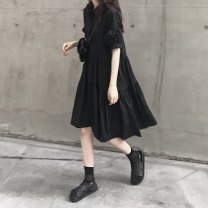 Dress Summer of 2019 black Average size Mid length dress singleton  Short sleeve commute Polo collar High waist Solid color Socket Big swing bishop sleeve Others 18-24 years old Type A Other / other Korean version OP1060