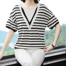 T-shirt Picture color M,L,XL,2XL,3XL Summer 2021 Short sleeve Crew neck easy Regular routine commute cotton 96% and above Korean version originality Thick horizontal stripe