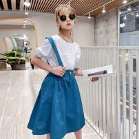 suit Other / other white 110cm,120cm,130cm,140cm,150cm,160cm,170cm female summer Original design Short sleeve + skirt 2 pieces Thin money There are models in the real shooting Socket nothing Solid color cotton spouse Shopping Class C 2, 3, 4, 5, 6, 7, 8, 9, 10, 11, 12, 13, 14 years old Shanghai