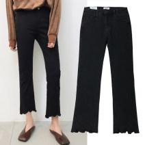 Women's large Spring 2020, autumn 2020 black Jeans singleton  commute Self cultivation moderate Solid color Korean version Denim Three dimensional cutting Asymmetry 81% (inclusive) - 90% (inclusive) Ninth pants 121g / m ^ 2 (including) - 140g / m ^ 2 (including) Contains (9 oz) - 11 oz