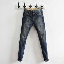 Jeans Fashion City Others 28,29,30,31,32,33,34,36 blue routine Micro bomb Regular denim trousers Other leisure spring youth Medium low back Fitting straight tube tide 2019 Little straight foot zipper washing Five bags Washed, worn, cat whiskers