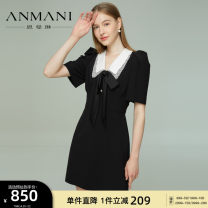 Dress Summer 2021 S M L XL Short skirt singleton  Short sleeve commute V-neck High waist zipper A-line skirt puff sleeve 25-29 years old Type X Emmanuel Retro More than 95% other other Other 100% Same model in shopping mall (sold online and offline)