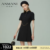 Dress Summer 2021 black S M L XL Short skirt Short sleeve commute Polo collar High waist zipper A-line skirt routine 25-29 years old Type X Emmanuel Britain chain More than 95% other other Other 100% Same model in shopping mall (sold online and offline)