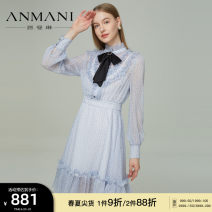 Dress Summer 2021 Salmon orange glacier blue S M L XL Mid length dress Long sleeves Sweet stand collar High waist zipper Big swing routine 25-29 years old Type X Emmanuel Bow printing EANBAS17- More than 95% other polyester fiber Polyester 100% Countryside