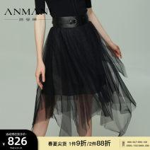 skirt Spring 2021 S M L XL black Mid length dress Versatile High waist Irregular Type A 25-29 years old More than 95% Anmani / enmanlin nylon Bright silk Polyamide fiber (nylon) 100% Same model in shopping mall (sold online and offline)