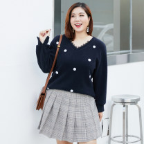 Women's large Winter of 2018 dark blue XL 2XL 3XL 4XL 5XL 6XL Knitwear / cardigan singleton  commute Self cultivation moderate Socket Long sleeves Solid color V-neck routine Three dimensional cutting routine QD3189 Delicate and beautiful 25-29 years old Other 100% Pure e-commerce (online only)