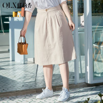Women's large Spring 2021 Denim Blue Denim Blue apricot apricot XL / 32 2XL / 33 3XL / 34 4XL / 36 5XL / 38 6xl / 40 skirt singleton  commute Self cultivation moderate Korean version Cotton others Three dimensional cutting QLXQG0577HVD Delicate and beautiful 25-29 years old Medium length