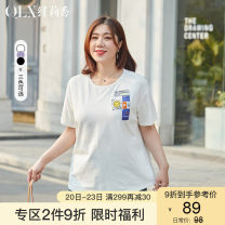 Women's large Summer 2021 Off white - Black - Lavender - off white black Lavender XL 2XL 3XL 4XL 5XL 6XL T-shirt singleton  commute easy moderate Socket Short sleeve Cartoon animation Korean version Crew neck routine cotton Three dimensional cutting QLXQG1564UFJ Delicate and beautiful 25-29 years old